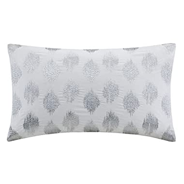 INK+IVY Nadia Dot Metallic Embroidery Oblong Pillow, Silver