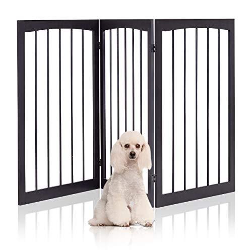 DREAMADE Hundeabsperrgitter Schutzgitter ausziehbar, Hundegitter Treppengitter aus Kiefernholz, Treppenschutzgitter Absperrgitter für Kinder Hunde Kamin, Braun