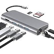 Homder Hub USB C Adattatore 8-in-1 con Porta RJ45, Porta 4K HDMI, 3 Porte USB 3.0, Porte TF e SD, Portatile per MacBook PRO/Air, Chromebook e Altri Laptop Dotati di Type C