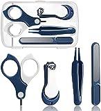 Geggur Bebé Kit de Cuidado de Las uñas, Kit de manicura bebé con una maquinilla Caja, Tijeras, limas de uñas y Pinzas,Blue