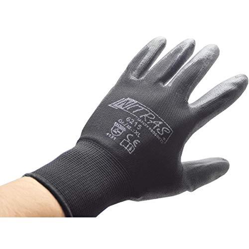 NITRAS Nylon Montagehandschuh 6215 PU beschichtete Handschuhe, schwarz Gr. XL (9) 12 Paar