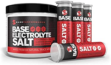 BASE Performance electrolyte salt, 226 Servings tub with 3 refillable race vials.