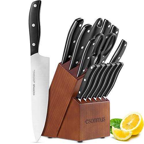 esonmus Cuchillos de Cocina Profesionales, 15 Piezas Juego de Cuchillos de Cocina,...