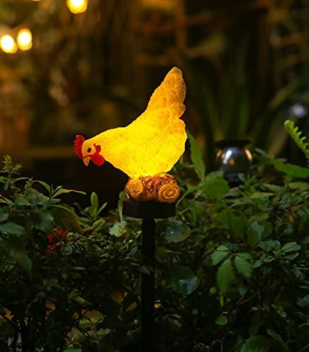 CHUANGFENG Solar Garden Lights Chicken Decorative Outdoor Solar Stake Light Chicken...