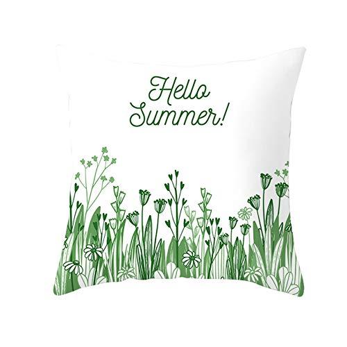 Ukilook Fundas de almohada de poliéster pequeñas flores y hierba Hello Summer! Fundas de cojín cuadradas suaves con cremallera oculta para sofá, decoración del hogar, moderna 45 x 45 cm