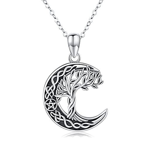 Tree of Life Necklace 925 Sterling Silver Crescent Moon Necklace Celtic Knot Pendant Family Tree Celtic Jewelry Gifts for Women Men