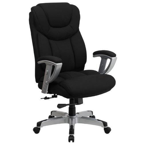 Flash Furniture HERCULES Series Big & Tall 400 lb. Rated Black Fabric Executive Ergonomic Office Chair with Silver Adjustable Arms, BIFMA Certified