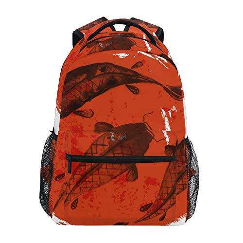 RELEESSS Mochila escolar Koi Carp Japonesa mochila escolar ligera para niños y niñas, unisex