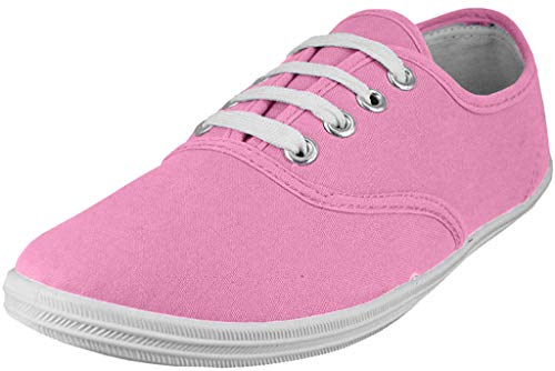 Easy USA - Womens Canvas Lace Up Shoe with Padded Insole, Baby Pink 37305-10B(M) US