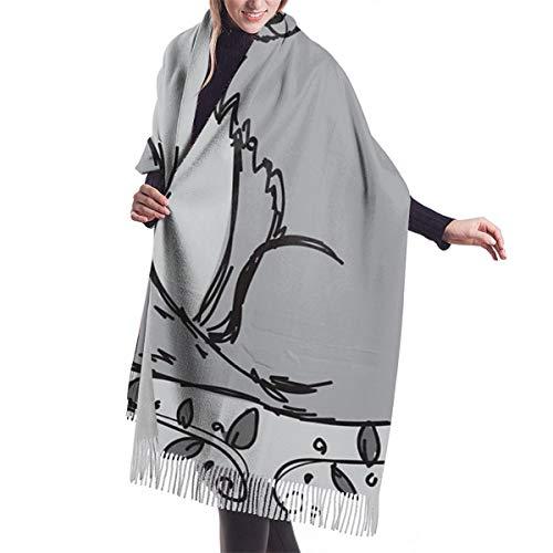 Lilyo-ltd Grauer Fuchs-Schal für Damen, warmer Winterschal, Übergröße