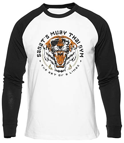 Sagats Muay Thai Tiger Gym The Art Camiseta de Béisbol Unisex Hombres Mujeres Manga Larga Camiseta Blanca T-Shirt Baseball Men Women White tee XXL