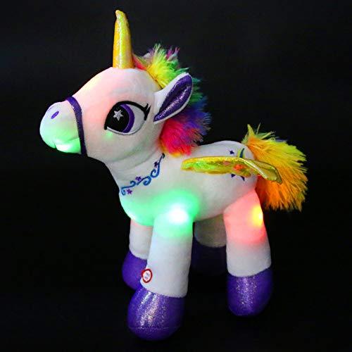 Houwsbaby Light Up Stuffed Unicorn Glow at Night Soft Horse LED Plush Toy Glitter Gift for Kids Boys Girls Girlfriend Companion Pet Holiday Birthday, 14'' (White)