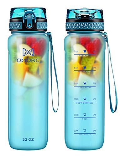 OMORC Sport Trinkflasche, 900ML/500ML Sport BPA Frei Auslaufsicher Wasserflasche Kunststoff Sporttrinkflaschen Plastik für Kinder Schule, Fahrrad, Trinkflaschen Filter Liter Kohlensäure Geeignet