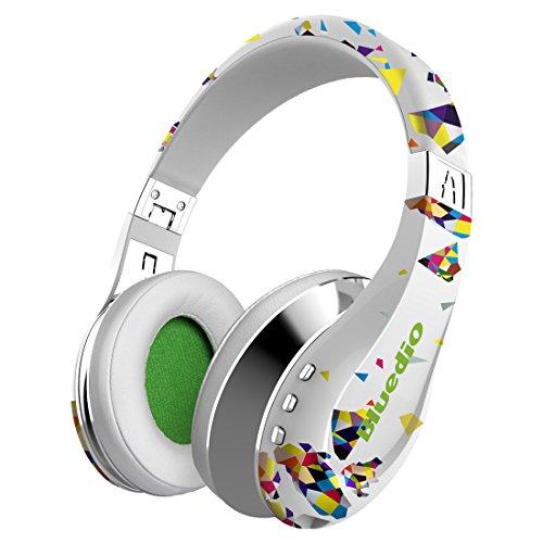 Bluedio A (Air Cuffie Bluetooth alla Moda Auricolari Wireless con Microfono/HD Diaphragm/Twistable Headband/ 3D Surround Sound (Bianco)