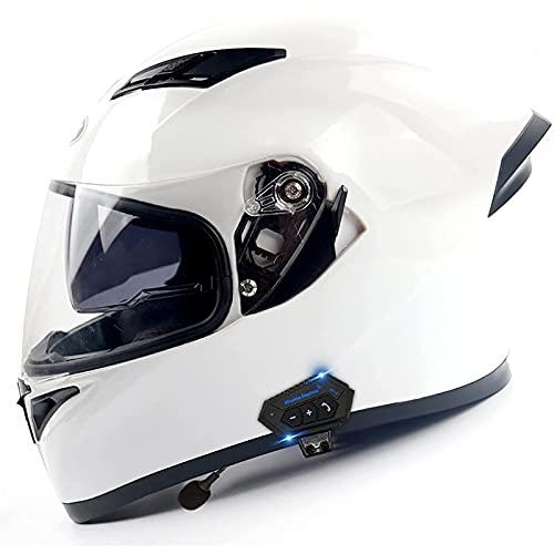 Casco de Moto Modular Bluetooth Integrado,Con Doble Visera Cascos de Motocicleta,Transpirable y Cómoda,Para Mujeres y Hombres,Casco Integral ECE Homologado C,M=57~58CM