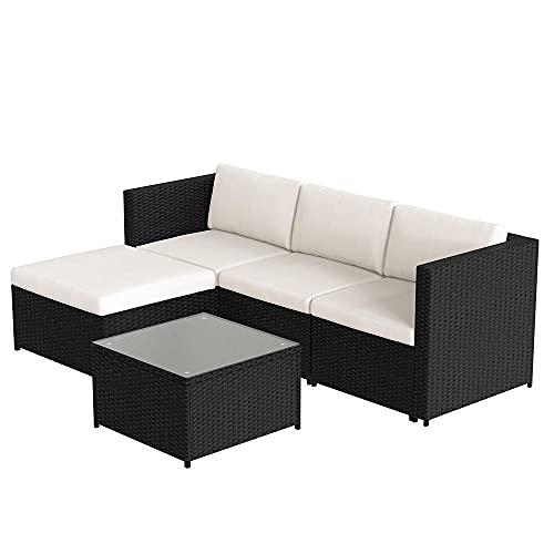 KaO0YaN,Conjunto de Muebles de Jardín, Juego de Sofá de Esquina, Ratán Poli, Sofá de 1 x 3...
