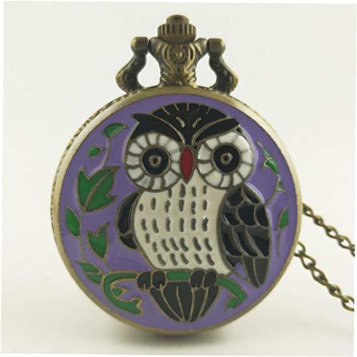 Nette reizende Eule Vintage antike runde Zifferblatt Quarz Taschenuhr Halskette Anhänger Uhr für Mens Womens beste Geschenke - Beige Gelb
