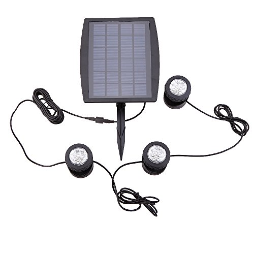 Lixada Solar Teichbeleuchtung, Draussen Tauchstrahler Einstellbare Unterwasserleuchten, IP68 wasserdicht, 18 LEDs Solar Spotlight Licht für Garten, Brunnen, Terrasse,...