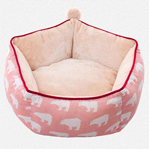 LIAOER Pet Bed, Small Cat and Dog Resting Bed, Comfortable and Soft Cat/Dog Nest Bed, Moisture-Proof Breathable Pet Bed Mat-Pink polar bear_M