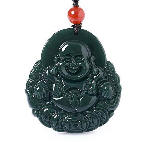 Natural ice Kind of green jade Happy Laughing Maitreya Buddha Sack Monk Necklace Pendant Gem amulet