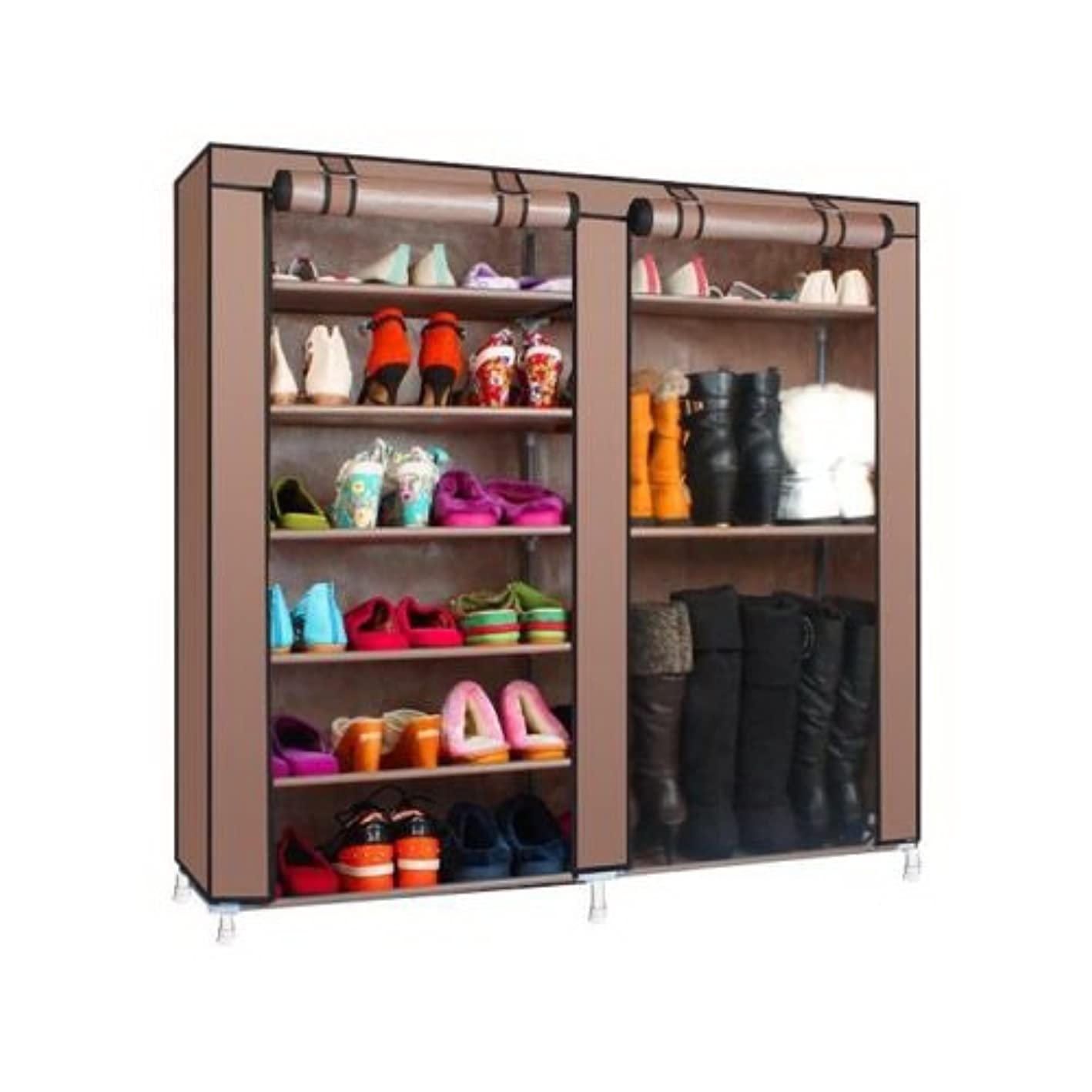 dtemple Double Row Shoe Rack with Nonwoven Fabric Cover 6 Layer 12 Grid Closet Shoe Storage Organizer, US Stock (Coffee 2)