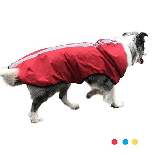 Oncpcare Reflecterende hond regenjas, Ajustable huisdier waterdichte kleding, lichtgewicht huisdier regen poncho jas hoodies voor kleine middelgrote grote honden, XL, Rood