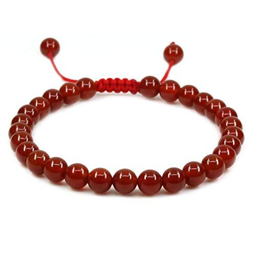 Natural AA Grade Red Agate Gemstone 6mm Round Beads Adjustable Bracelet 7