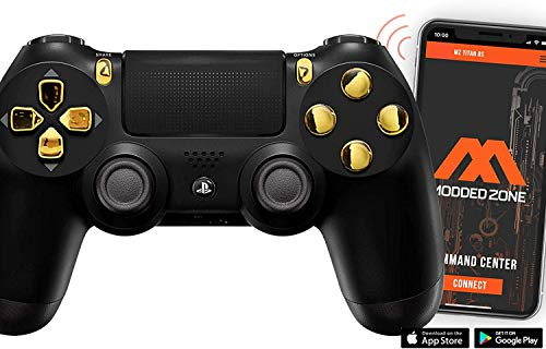 Black/Gold PS4 PRO Smart Rapid Fire Modded Controller Mods for FPS All Major Shooter Games Warzone & More (CUH-ZCT2U)