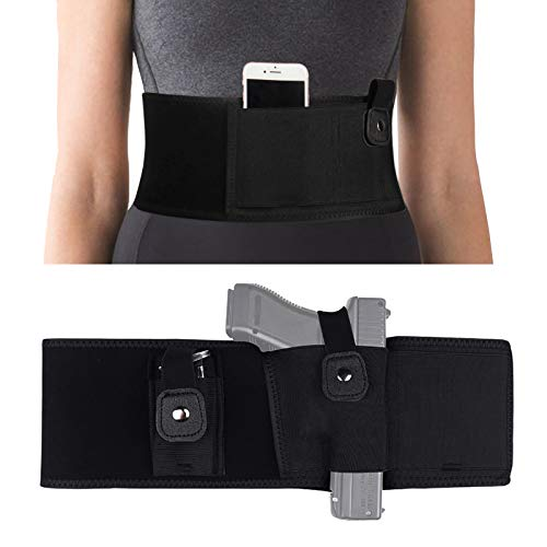 """Outink Belly Band Holster for Concealed Carry Men Women Breathable Neoprene Waistband Gun Holsters with Movable Magazine Pouch fits Most Size Pistols (Left, X-Large(Belly up to 54""""))"""