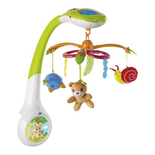 Chicco Forest Magic Baby Mobile mit Musik und Licht, Elektronische Spieluhr mit entspannender Musik und Nachtlicht für Kinder- und Babybetten, 3 abnehmbaren Plüschtieren, Baby Spielzeug ab 0 Monate