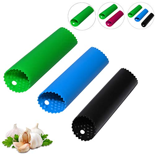 Garlic Peeler Skin Remover Roller KeeperEasy Quick to Peeled Garlic Cloves with Best Silicone Tube Roller Garlic Odorfree Kitchen Tool Peeling Without Smell With Internal Wave Points Design3 Colors