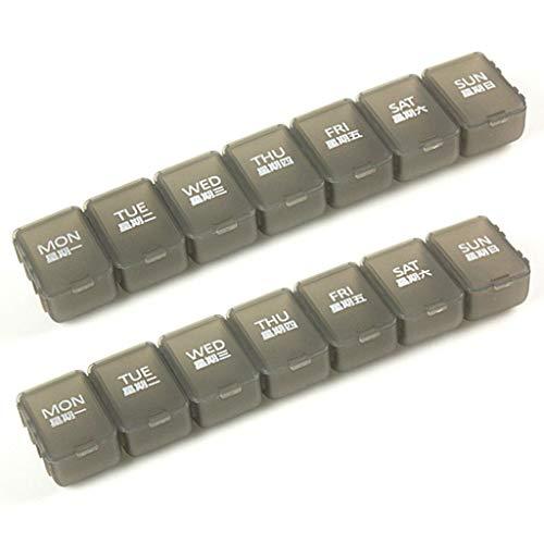 Jinxin-Boxes Afneembare wekelijkse pillendoos, Push Button Pill Organisator, Grote vakken (2 Pack)