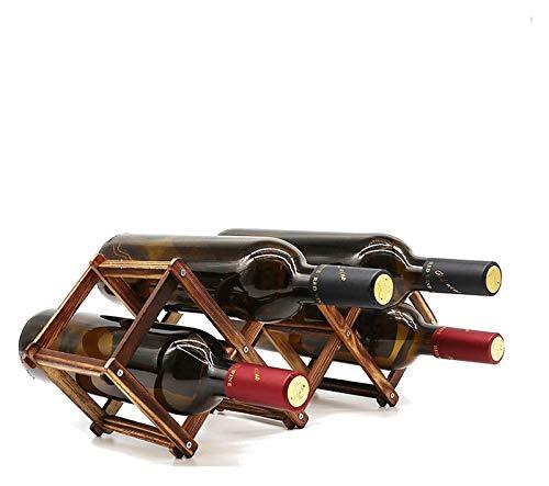 Estante de vino de madera Pequeño soporte de botella de vino Almacenamiento de almacenamiento Piezas de madera plegables plegables plegables Organizador de mesa encimera - madera carbonizada, 5 ranura