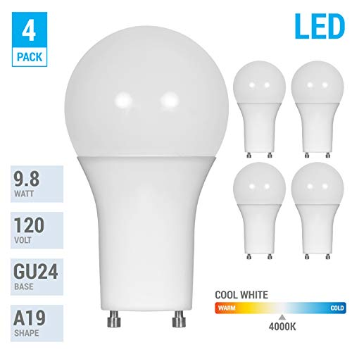 LED GU24 A19 Light Bulbs 60 Watt Equivalent, 9.5 Watt Dimmable Lights for Home with Twist & Lock Base, Replacing CFL GU24 Ceiling Light, Omni 220 Degree Beam Angle, 800 Lumen. (Cool White (4000K))
