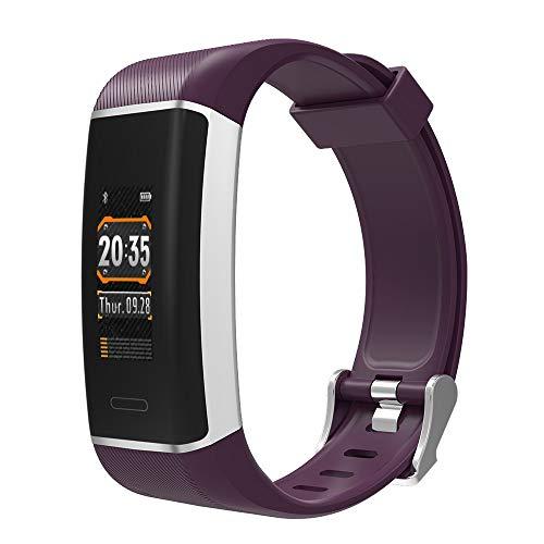 Fitnesstracker polshorloge, waterdicht, smartwatch kleurendisplay met hartslagmonitor, stappenteller, stappenteller en muziek voor iOS en Android en iPhone, paars