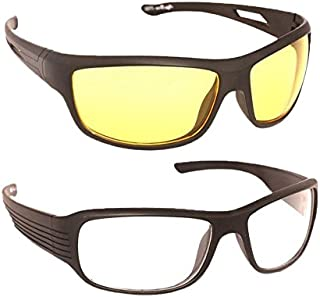 Younky Day And Night Vision Goggles for Riding Bikes Combo Pack of Driving Sunglasses for Men Women Boys & Girls (Clear - Yellow Night Vision) - 2 Goggle Case