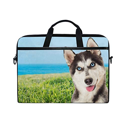 Moyyo Funny Husky Dog On Beach Laptop Bag Laptop Case with 3 Compartment Shoulder Strap Handle Canvas MacBook Computer Bag Personalised for Women Men Kids Girls Boys 15 inch