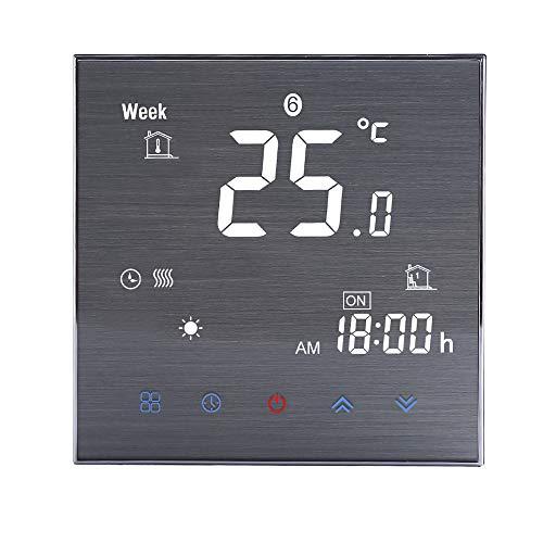 Decdeal WiFi kamerthermostaat, smart thermostaat, digitaal lcd-display, wandthermostaat, touch-knop, spraakbediening, programmeerbaar, 0,5 graden nauwkeurigheid (5 A waterverwarming/boiler, 16 A elektrische verwarming)