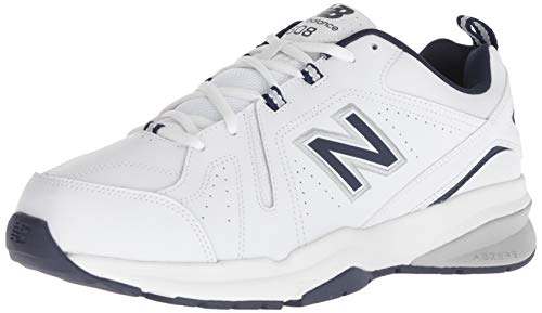 New Balance Men's 608 V5 Casual Comfort Cross Trainer, White/Navy, 11 XW US