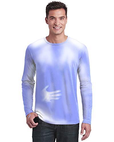 Shadow Shifter T-Shirt für Erwachsene, Unisex, Farbwechsel, langärmlig, wärmeempfindlich - Blau - X-Groß