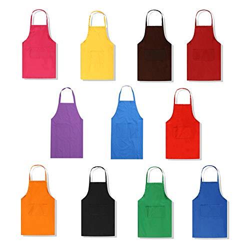 Lot de 11 tabliers en tissu déperlant lavable, avec 2 poches, parfait pour la cuisine, le barbecue, unisexe, couleurs panachées