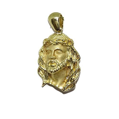 Never Say Never Cara de Cristo Mediana de Oro Amarillo de 18k de 3.00 cm de Alto (sin el asa) por 2.20cm de Ancha. 11.75gr de Oro de 18k. SIN Cadena