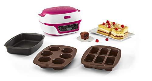 Tefal Cake Factory Intelligente à Gâteaux Appareil, Cuisson Conviviale, Pâtisserie, Machine à Pain, Muffins, 3 Inclus, 5 Programmes, Compatible Moules Crispybake KD801812, Plastique, Blanc/Framboise