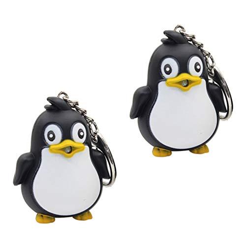KESYOO 2pcs Pinguin Schlüsselanhänger LED Beleuchtung mit Sound Pinguin Anhänger Schlüsselring Handtaschenanhänger Geschenk Party Mitgebsel Spielzeug Schwarz