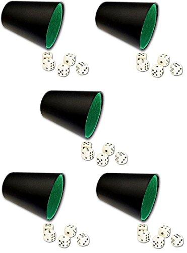 HAC24 5X Würfelbecher Set Schwarz mit je 5 Würfel Knobelbecher Knobel Chicago Würfelset Würfelspiele