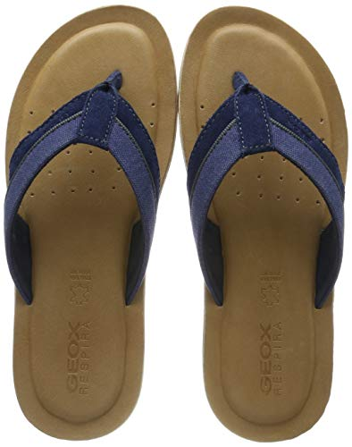 Geox Men's U Artie E Flip Flops, Blue (Dk Royal C4072), 9 UK