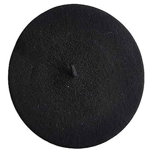 Damas Headwear de lana de invierno de la boina de moda Hairy boinas francesas Sombreros de invierno de abrigo para mujeres de la muchacha (negro)