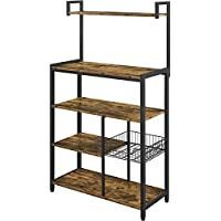 Topeakmart 5-Tier Microwave Stand with 6 Hooks & Wire Basket