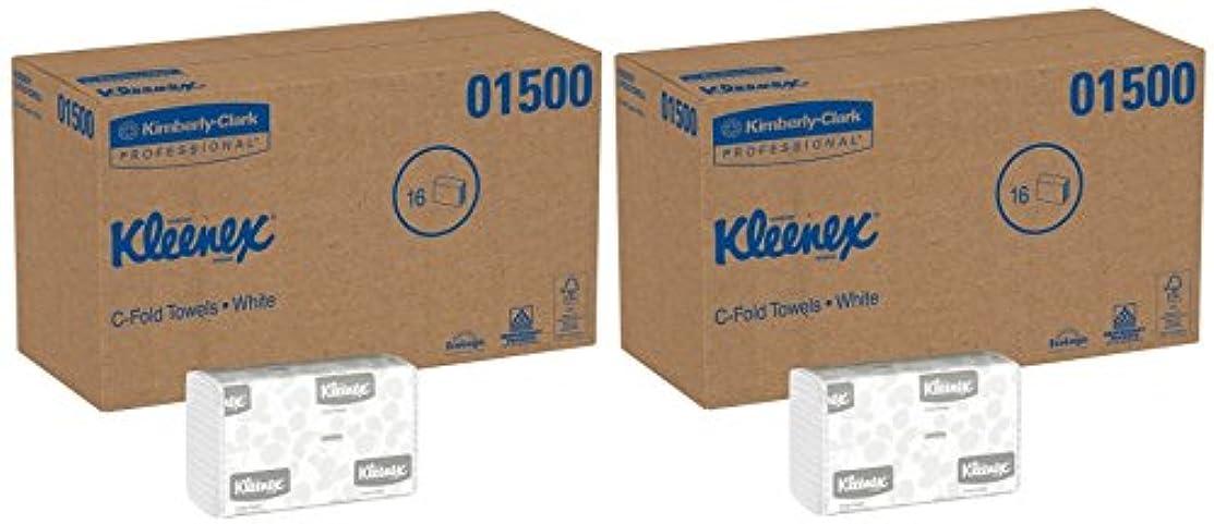 前提条件破産重くするKleenex C折りPaper Towels ( 01500?)吸収性、ホワイト、16パック/ケース、150?C-foldタオル/パック、400台タオル/ケース 2 Cases (16 Packs)