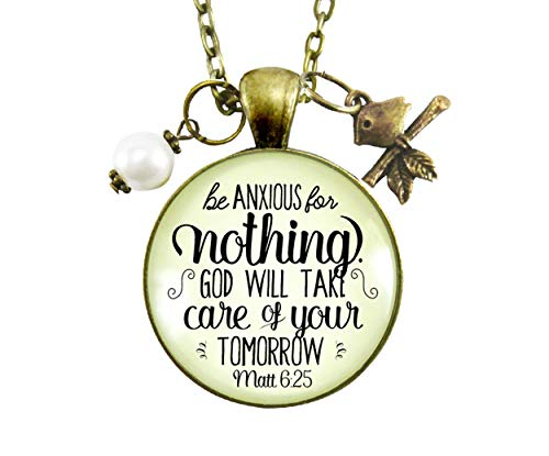 """Gutsy Goodness 24"""" Be Anxious for Nothing Necklace Christian Bible Verse Quote Jewelry"""